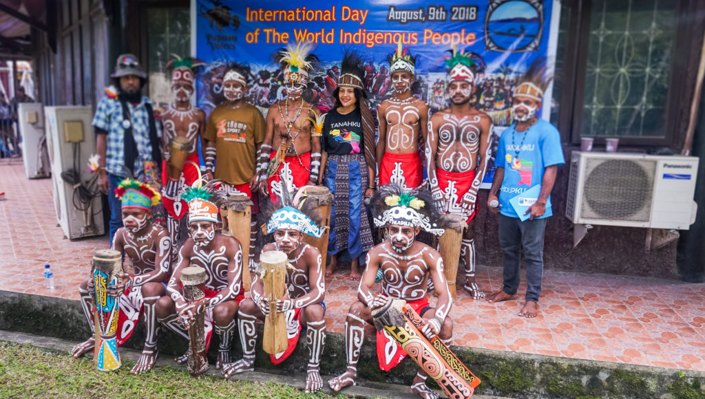 A local indigenous dance group performed at the inauguration program of the Festival Films Papua (FFP-II).